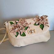 Сумки и аксессуары handmade. Livemaster - original item Leather bag shoulder Bag. Milk hydrangea. Handmade.