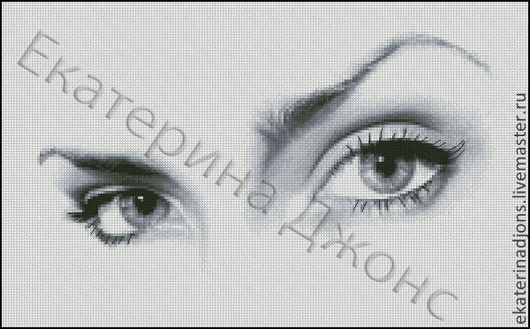 """Авторская схема вышивки крестом """"Взгляд"""" (скрин схемы). Сделаю схему на заказ по вашей фотографии или картинке."""