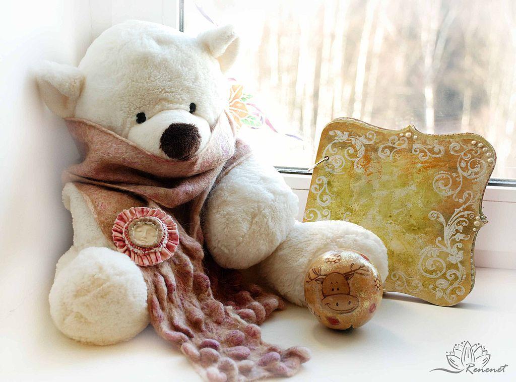"""Валяный шарф """"Розовые мечты"""" + брошь, Шарфы, Смоленск,  Фото №1"""