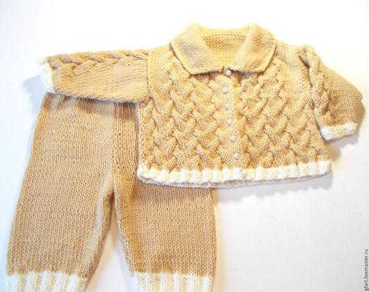 Одежда для девочек, ручной работы. Ярмарка Мастеров - ручная работа. Купить Детский костюм персиковый для девочек 6-8 мес. полушерсть. Handmade.