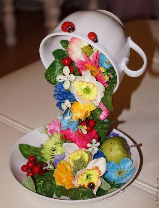 Декоративная посуда ручной работы. Ярмарка Мастеров - ручная работа. Купить чашка. Handmade. Комбинированный, цветы, чашка, проволока