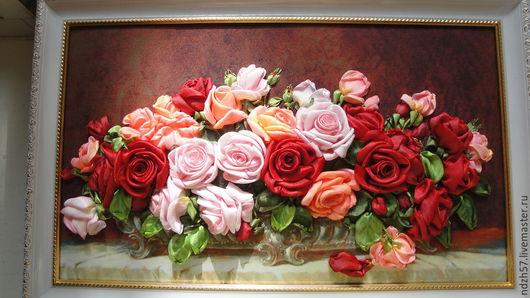 Картины цветов ручной работы. Ярмарка Мастеров - ручная работа. Купить Картина вышитая лентами Розы. Handmade. Разноцветный, картина