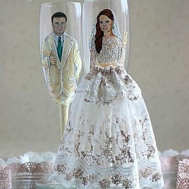 """Свадебный салон ручной работы. Ярмарка Мастеров - ручная работа Свадебные бокалы с портретами """"Жених и Невеста"""". Handmade."""