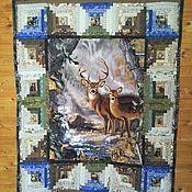 Для дома и интерьера ручной работы. Ярмарка Мастеров - ручная работа Лоскутное одеяло-панно Олени и другие обитатели леса. Handmade.