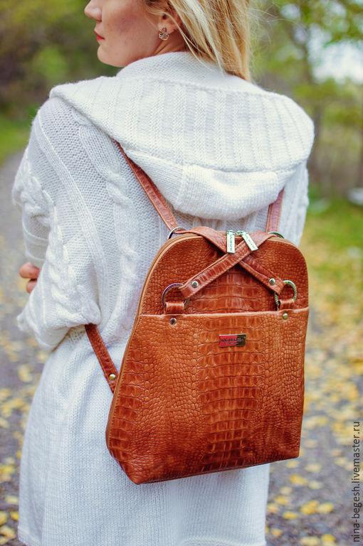 """Рюкзаки ручной работы. Ярмарка Мастеров - ручная работа. Купить Сумка-рюкзак """"Рыжая осень"""", натуральная кожа. Handmade. Рыжий"""