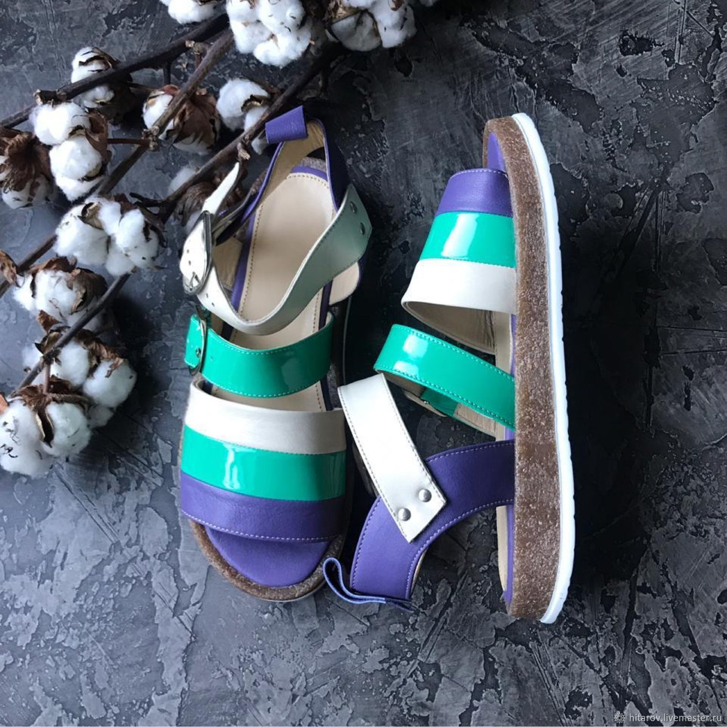Melody sandals purple / turquoise lacquer / white, Sandals, Moscow,  Фото №1