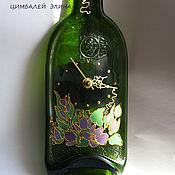 Для дома и интерьера ручной работы. Ярмарка Мастеров - ручная работа Часы-бутылка.С цветами.. Handmade.