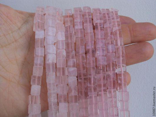 Для украшений ручной работы. Ярмарка Мастеров - ручная работа. Купить Розовый кварц. Куб 6мм.. Handmade. Бусина