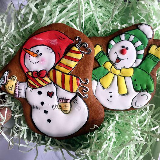 Новый год 2017 ручной работы. Ярмарка Мастеров - ручная работа. Купить Пряник снеговик. Handmade. Снеговик, снеговичок, снеговик в подарок