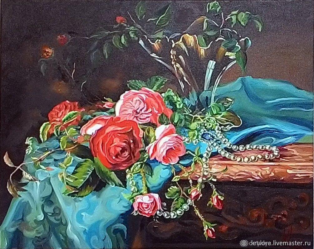 """""""Розы с жемчужным ожерельем"""", Картины, Таганрог,  Фото №1"""