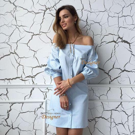 Платья ручной работы. Ярмарка Мастеров - ручная работа. Купить Платье сарафан из дизайнерского сатина. Handmade. Голубой, платье летнее