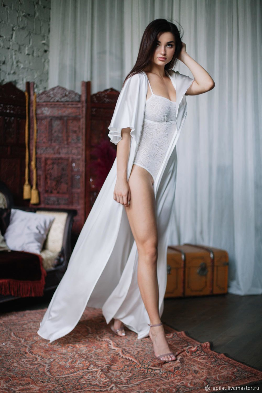1585a1553b Long Silk Bridal Robe F30