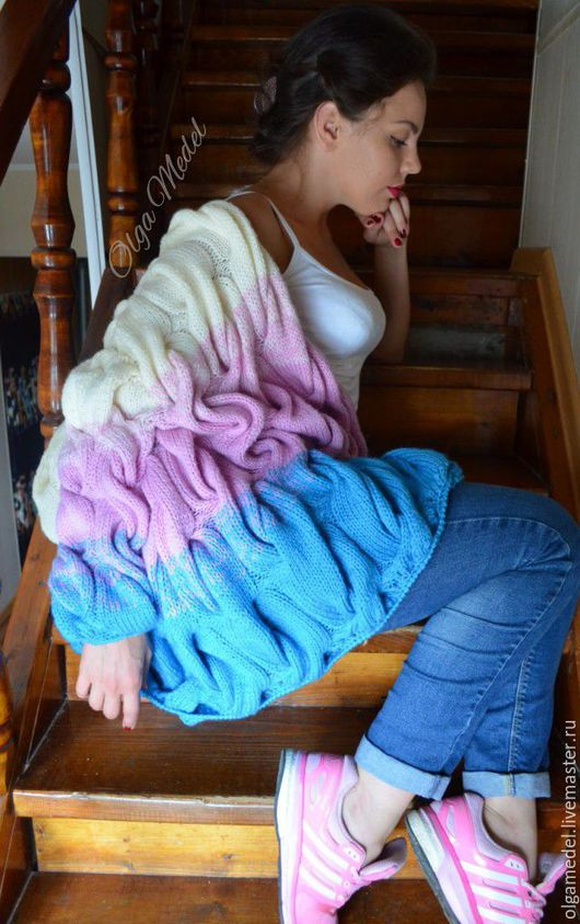 Кофты и свитера ручной работы. Ярмарка Мастеров - ручная работа. Купить Кардиган с косами нежного бирюзово-розово-молочного цвета. Handmade.