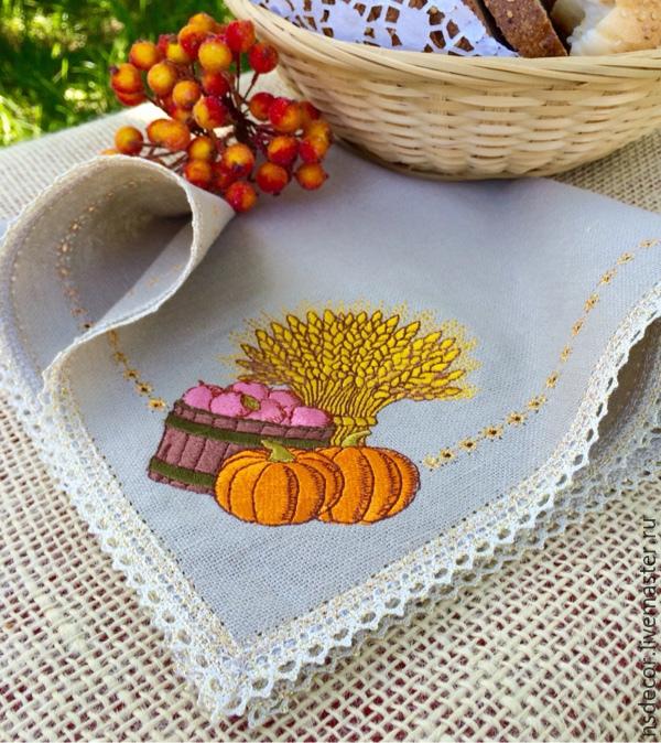 """Кухня ручной работы. Ярмарка Мастеров - ручная работа. Купить Салфетка льняная """" Богатый урожай"""". Handmade. Машинная вышивка"""
