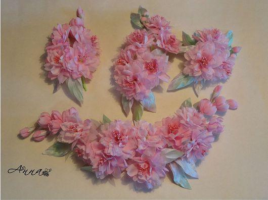 """Цветы ручной работы. Ярмарка Мастеров - ручная работа. Купить Свадебный комплект """"Сакура"""". Handmade. Свадьба, цветы из ткани, сакура"""