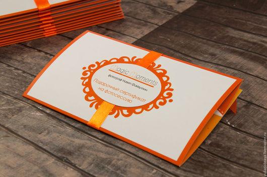 """Подарочная упаковка ручной работы. Ярмарка Мастеров - ручная работа. Купить Подарочные сертификаты """"Magic Moments"""". Оранжевые. Handmade. Рыжий"""
