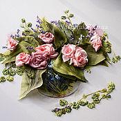 Картины и панно ручной работы. Ярмарка Мастеров - ручная работа Розы и хоста. Handmade.