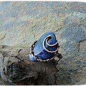 """Украшения ручной работы. Ярмарка Мастеров - ручная работа Кольцо медное """"Завораживающая синева"""" с редким  камнем азурмалахит. Handmade."""