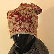 Аксессуары ручной работы. Ярмарка Мастеров - ручная работа шапка бини Шапка с оленями. Handmade.