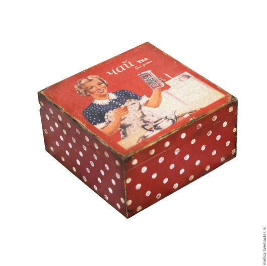 """Кухня ручной работы. Ярмарка Мастеров - ручная работа. Купить шкатулка для чая """"Ретро"""". Handmade. Бордовый, чайный короб, дерево"""