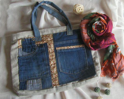 Женские сумки ручной работы. Ярмарка Мастеров - ручная работа. Купить Сумка повседневная льняная с джинсой. Handmade. Джинсовый стиль