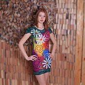 Одежда ручной работы. Ярмарка Мастеров - ручная работа Пять ромашек платье из мериносовой шерсти. Handmade.