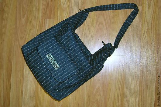 Женские сумки ручной работы. Ярмарка Мастеров - ручная работа. Купить Джинсовая сумка-рюкзак (трансформер). Handmade. Тёмно-синий