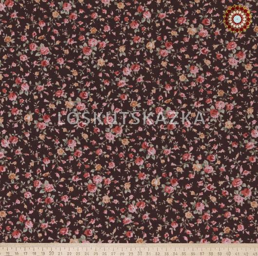 Ткань для пэчворка `Роза мини на коричневом`. Хлопок 100%. ZT-00077