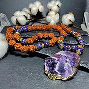 Фен-шуй и эзотерика handmade. Livemaster - original item Rosary of Rudraksha and Sugilite 54 b.. Handmade.