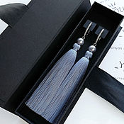 Украшения handmade. Livemaster - original item Earrings brush gray-blue color with pearl Swarovski. Handmade.