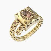 """Украшения ручной работы. Ярмарка Мастеров - ручная работа Золотое кольцо """"Морганит"""" с регулировкой размера. Handmade."""