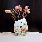 """Вазы ручной работы. Ярмарка Мастеров - ручная работа Вазы: Плоская ваза """" Маки ромашки васильки """". Handmade."""