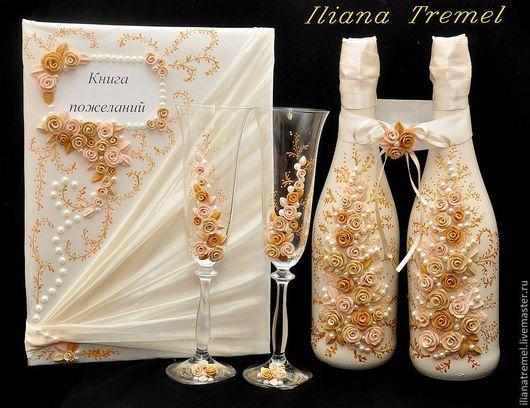Создам   неповторимые аксессуары  для вашего праздника.  Украшения на бутылки шампанского,  бокалы,  свечи,  книги пожеланий, подушечки для колец,  кулечки для лепестков роз.  С любовью!
