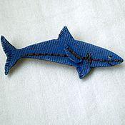 """Украшения ручной работы. Ярмарка Мастеров - ручная работа Брошь """"Shark"""",  имитация джинсы. Handmade."""