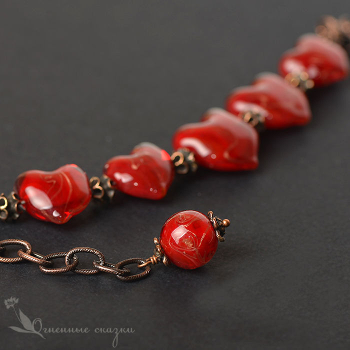 A bracelet made of beads: Affairs of the heart lampwork, Bead bracelet, Moscow,  Фото №1