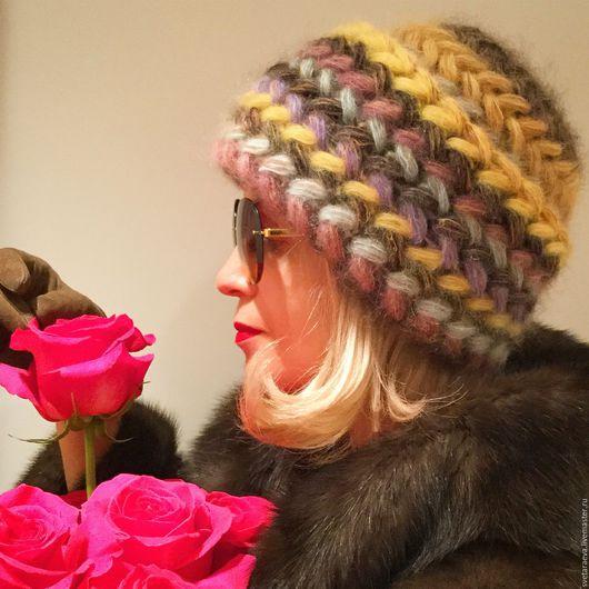 Шапки ручной работы. Ярмарка Мастеров - ручная работа. Купить Шапка  Мимоза  вязаная, вязанная из  мохера, теплая, женская. Handmade.