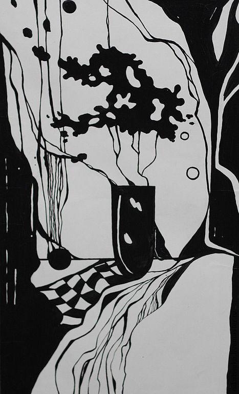 Натюрморт ручной работы. Ярмарка Мастеров - ручная работа. Купить Картина подарок. Натюрморт  Графика Черное на белом. Handmade. Графика