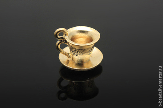 """Для украшений ручной работы. Ярмарка Мастеров - ручная работа. Купить Подвеска """" чашка """" позолота. Handmade."""