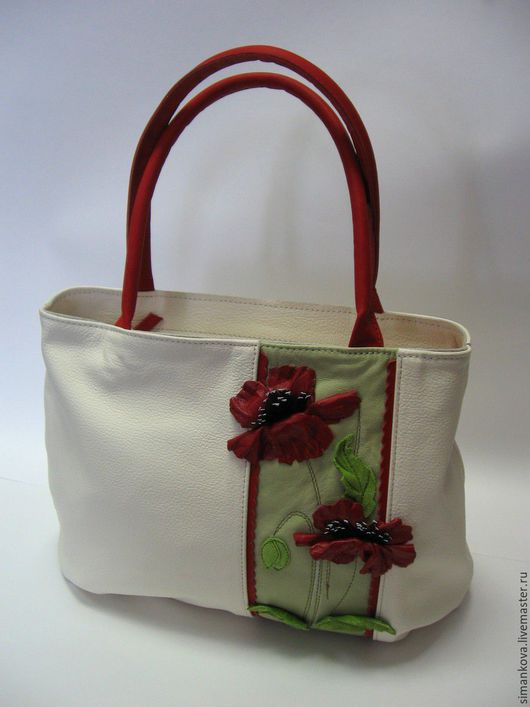 Женские сумки ручной работы. Ярмарка Мастеров - ручная работа. Купить Маки летом - малая. Handmade. Белый