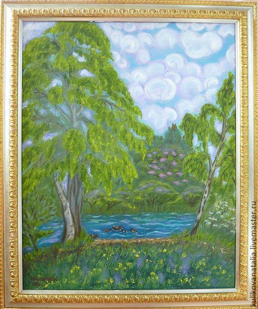 Пейзаж ручной работы. Картина написана на холсте маслом, оформлена в багет. Обратите внимание, что фотография снижает качество картины, которая смотрится в 2-3 раза лучше. Данное фото лишь может пере