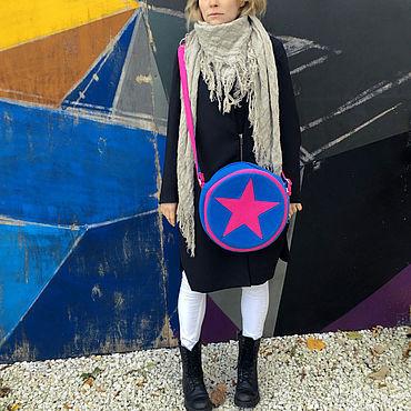 Сумки и аксессуары ручной работы. Ярмарка Мастеров - ручная работа В наличии Круглая фетровая сумка со звездой. Handmade.