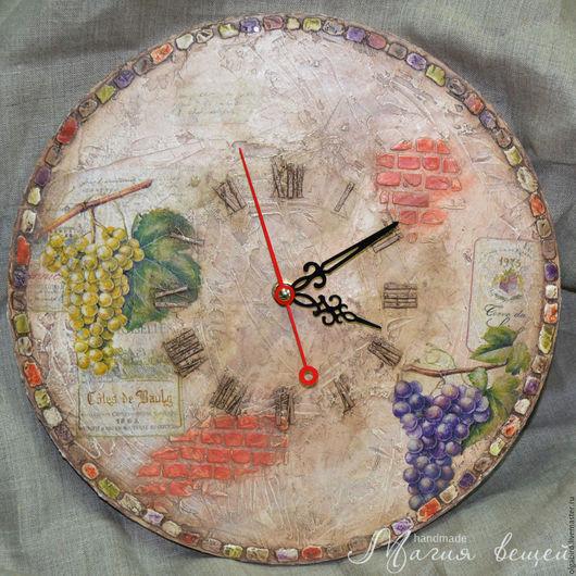 Часы для дома ручной работы. Ярмарка Мастеров - ручная работа. Купить Часы ВИННЫЙ ПОГРЕБ. Handmade. Декупаж, нежный, вино