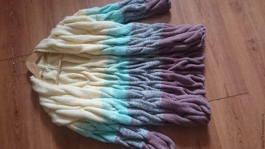 Кофты и свитера ручной работы. Ярмарка Мастеров - ручная работа. Купить кардиган градиентом в стиле лало. Handmade. Комбинированный, косы
