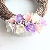 Украшения ручной работы. Ярмарка Мастеров - ручная работа Свадебный гребень с цветами из фоамирана Нежный. Handmade.