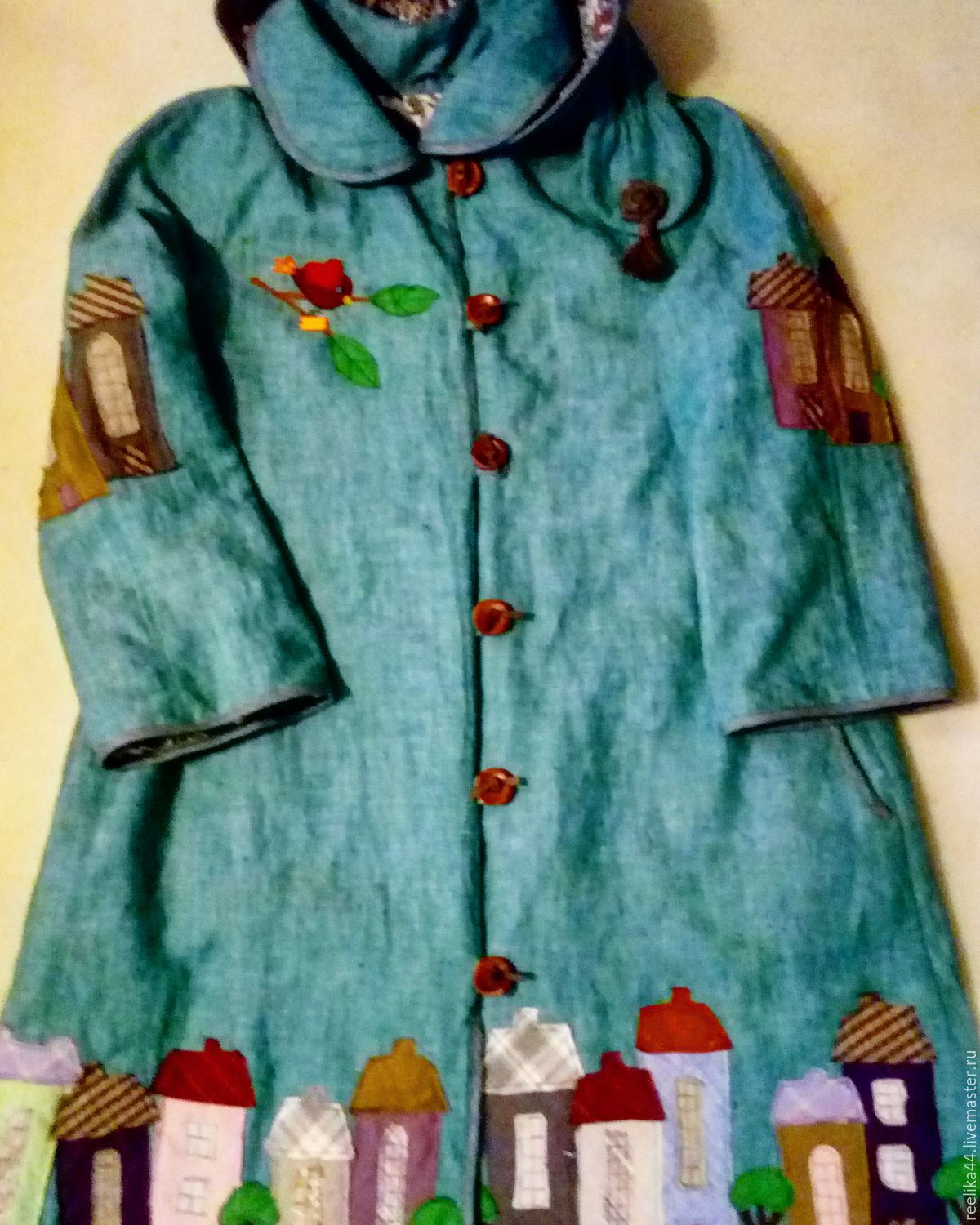 Coat linen ' Turquoise city', Coats, Stupino,  Фото №1