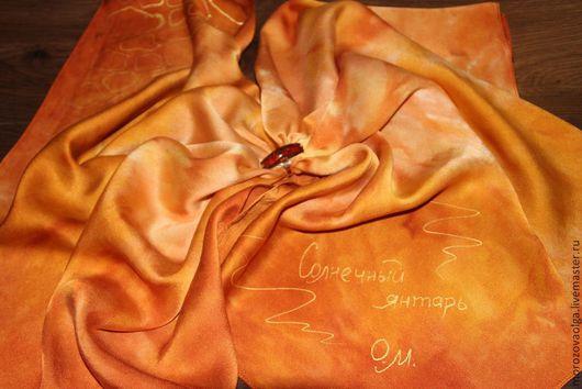 """Шали, палантины ручной работы. Ярмарка Мастеров - ручная работа. Купить Шейный платок """"Солнечный янтарь"""". Handmade. Рыжий"""