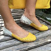 Обувь ручной работы handmade. Livemaster - original item From ballet flats two tone Python Bi2. Handmade.