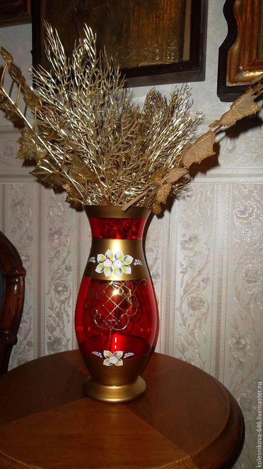 Винтажные предметы интерьера. Ярмарка Мастеров - ручная работа. Купить Шикарная ваза, Чехия. Handmade. Ярко-красный
