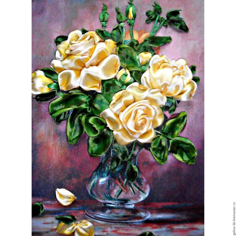 Принт для вышивки лентами розы 297