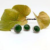 Украшения handmade. Livemaster - original item Set with jade. Handmade.